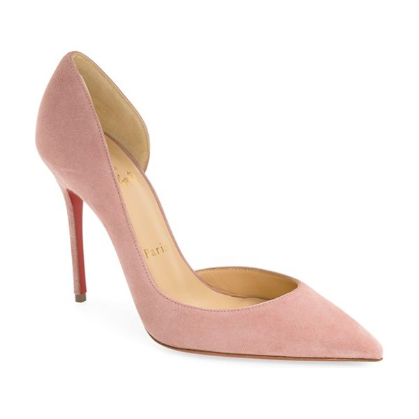 Christian Louboutin 'iriza' half d'orsay pump in pink suede - Christian Louboutin's classic half-d'Orsay pump is done...