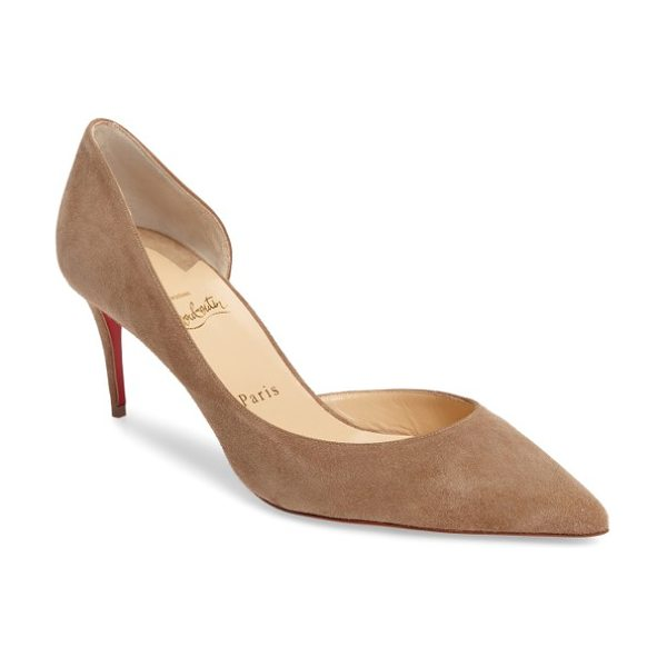 Christian Louboutin iriza half d'orsay pump in cappuccino suede - Crafted in velvety suede, this chic, coy pump pairs a...