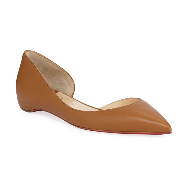 Christian Louboutin Iriza Half-D'Orsay Red Sole Flats in camel