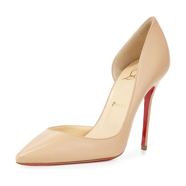 "Christian Louboutin Iriza Half-d'Orsay Red Sole Pump in nude - Christian Louboutin kidskin leather pump. 4"" covered..."