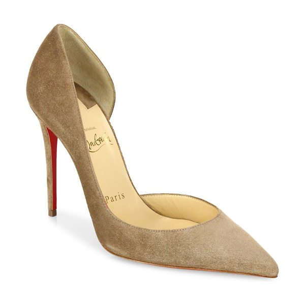 CHRISTIAN LOUBOUTIN iriza half d'orsay suede pumps in cappucino - Alluring half d'Orsay silhouette in rich suede....