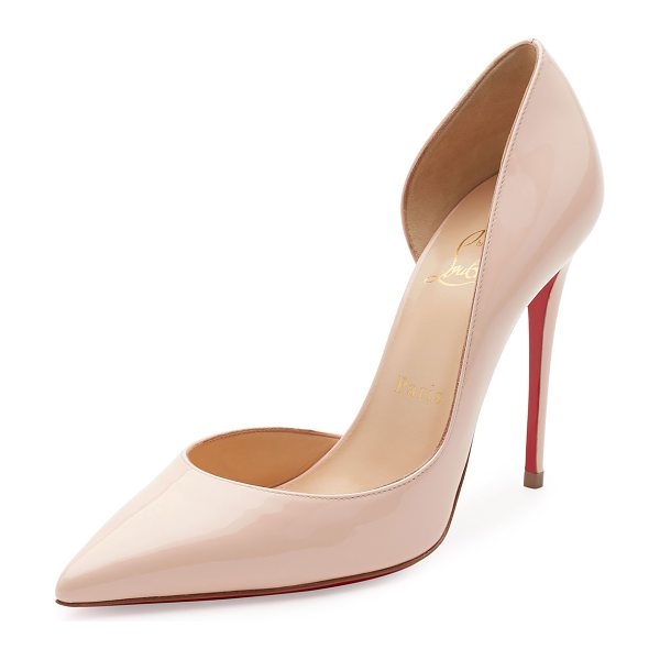 Christian Louboutin Iriza Patent Half-d'Orsay 100mm Red Sole Pump in pink - Christian Louboutin patent leather pump. Available in...