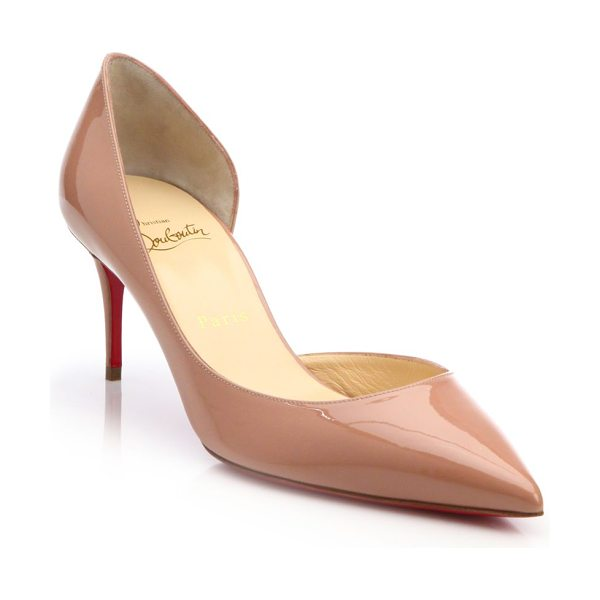 Christian Louboutin iriza 70 patent leather d'orsay pumps in nude - Timeless silhouette in lustrous patent leather....