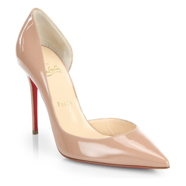 CHRISTIAN LOUBOUTIN Iriza patent leather half d'orsay pumps - Lustrous Italian patent leather forms an ultra-feminine...