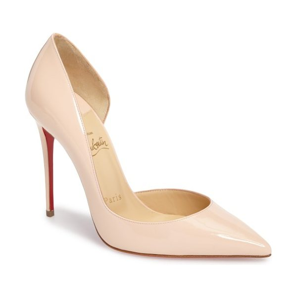 Christian Louboutin 'iriza' pointy toe half d'orsay pump in light pink patent - Christian Louboutin's iconic red sole was born from red...
