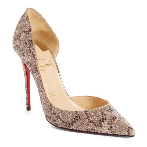 Christian Louboutin iriza pointy toe pump in beige glitter - A curvy half-d'Orsay silhouette adds to the sensual look...