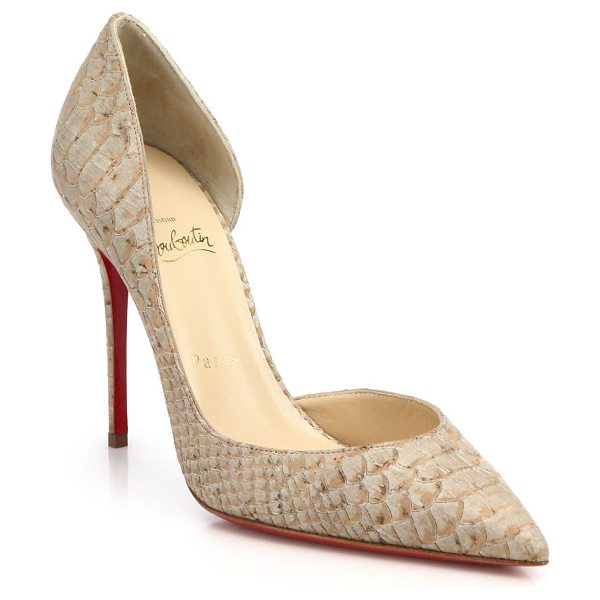 Christian Louboutin Iriza snake-embossed leather d'orsay pumps in beige - Expertly sculpted, elegant d'Orsay pumps updated by a...