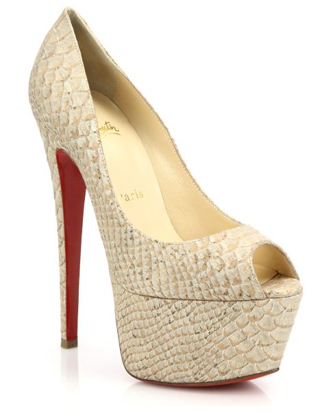 Christian Louboutin Jamie snake-embossed leather peep-toe pumps in beige - Towering bombshell pumps crafted from rich...