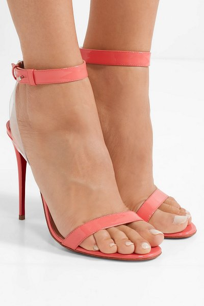 777914512308 Christian Louboutin jonatina 100 pvc-trimmed patent-leather sandals in  peach - Christian Louboutin s
