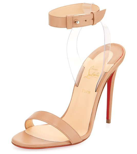 "CHRISTIAN LOUBOUTIN Jonatina Illusion Red Sole Sandal in beige - Christian Louboutin matte napa leather sandal. 4.5""..."