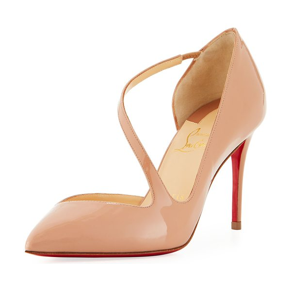 "CHRISTIAN LOUBOUTIN Jumping Asymmetric Red Sole Pump - Christian Louboutin patent leather pump. 3.3"" covered..."
