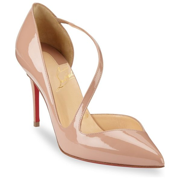 Christian Louboutin jumping point 85 toe pumps in nude - Attached strap adorns point toe pumps. Self-covered...