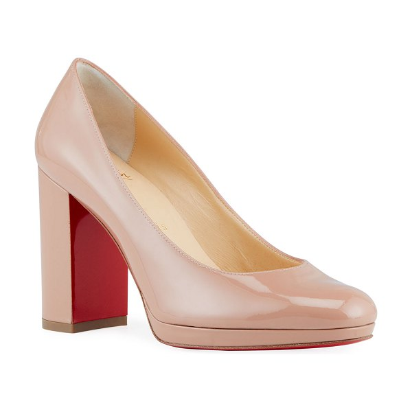 Christian Louboutin Kabetts Patent Red Sole Pumps in nude