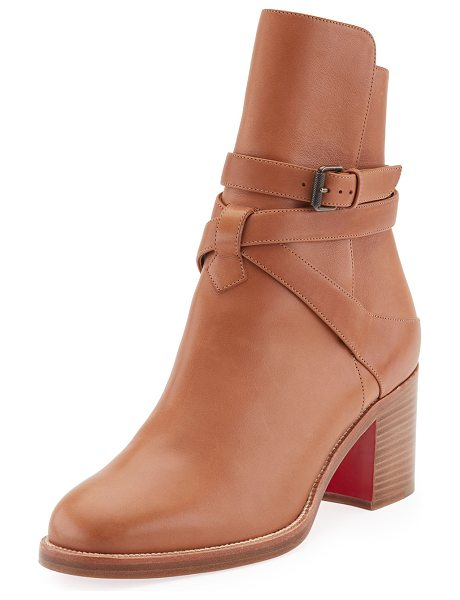 "CHRISTIAN LOUBOUTIN Karistrap Leather 70mm Red Sole Ankle Boot - Christian Louboutin calfskin ankle boot. 2.8"" covered..."