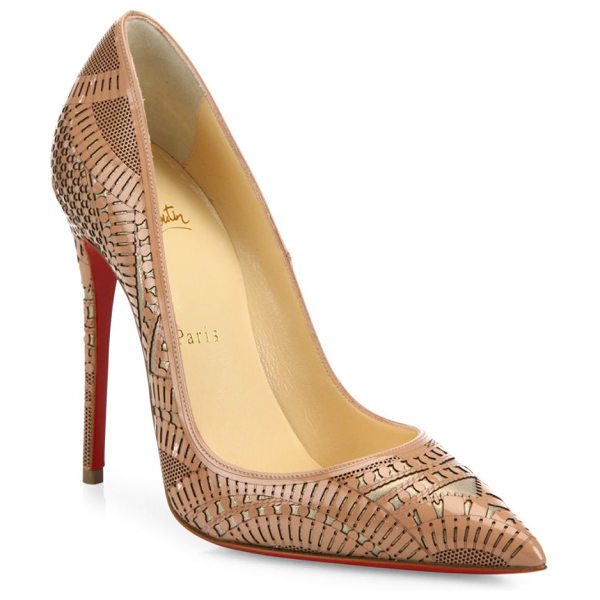CHRISTIAN LOUBOUTIN Kristali laser-cut patent leather pumps - Ultra-fine laser-cut detailing sweeps over this elegant...