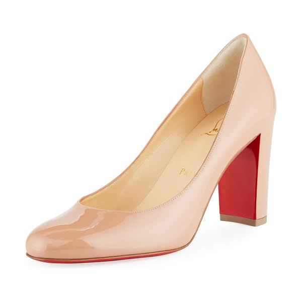 Christian Louboutin Lady Gena Patent Red Sole Pumps in nude