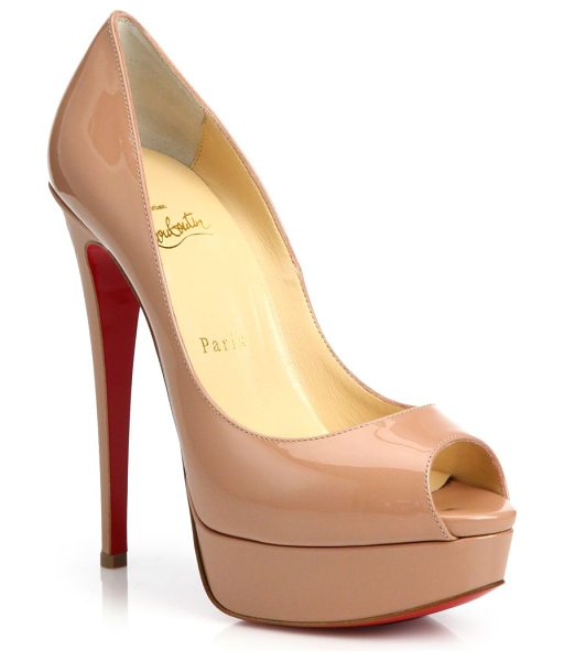 Christian Louboutin lady peep patent leather platform pumps in nude - Polished patent peep-toe pump set on towering heel....