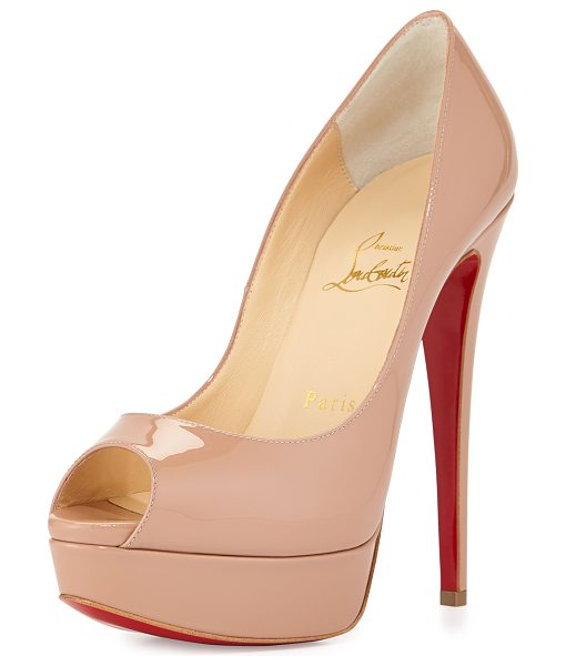 "CHRISTIAN LOUBOUTIN Lady Peep Patent Red Sole Pump - Christian Louboutin patent leather pump. 6"" covered..."