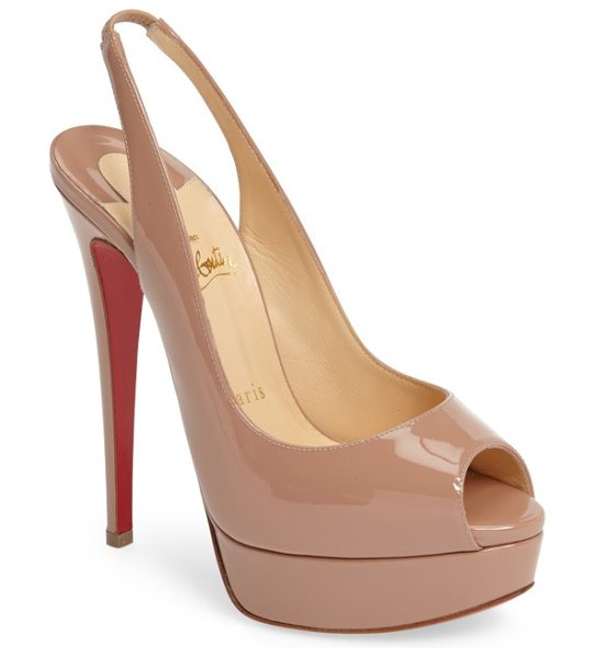 Christian Louboutin lady slingback pump in nude patent - A patent peep-toe pump with a towering stiletto heel is...