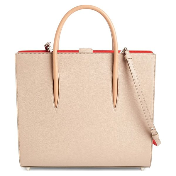 Christian Louboutin large paloma empire calfskin leather tote in cashmere/cashmere - Pastel calfskin leather beautifully juxtaposes the...