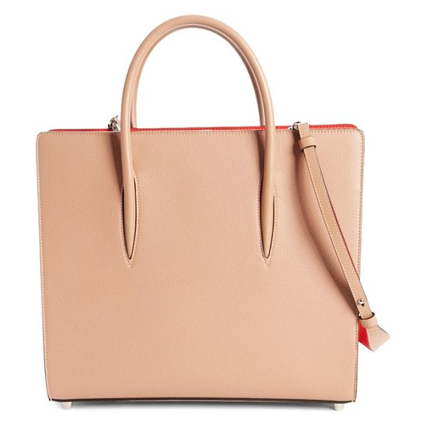Christian Louboutin large paloma leather tote in beige - Expandable side gussets punctuated with studs and framed...