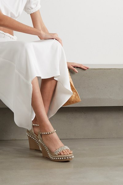 Christian Louboutin lata 110 spiked leather espadrille wedge sandals in beige