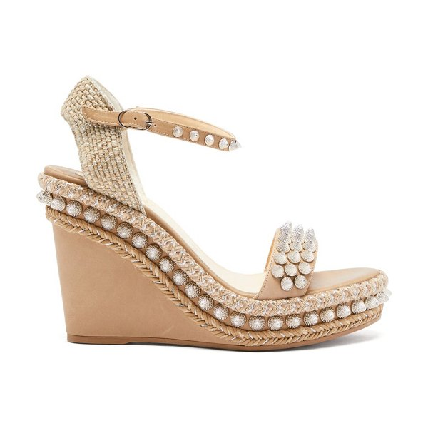 Christian Louboutin lata studded leather wedge sandals in tan