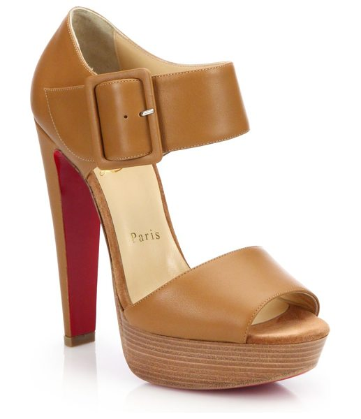 Christian Louboutin Leather ankle-strap platform sandals in tan - Leather platform sandal with bold buckled ankle...