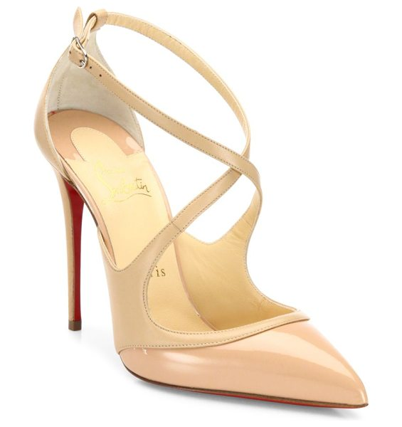 Christian Louboutin leather point toe pumps in nude - Sophisticated pointy pump with svelte crisscross straps....