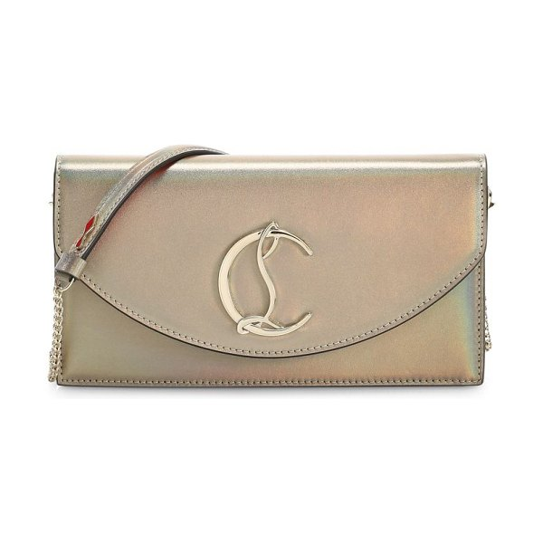 Christian Louboutin loubi54 iridescent leather clutch in gold