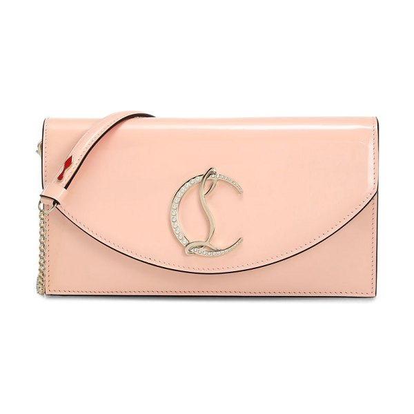 Christian Louboutin loubi54 patent leather clutch in rose