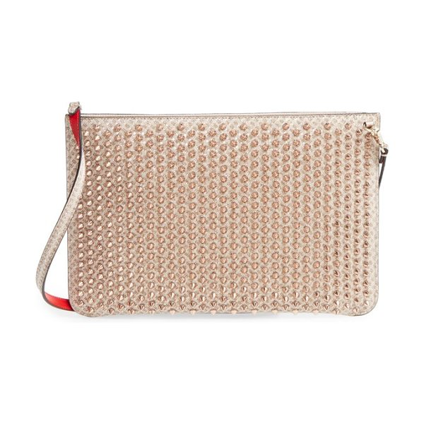 Christian Louboutin loubiclutch quadro leather crossbody clutch in nude/ bronze rose - An array of dangerous-looking spikes plays across a...
