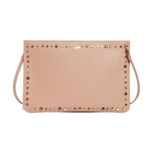 Christian Louboutin loubiclutch spiked leather clutch in beige - Polished geometric spikes add edgy glamour to a sleek...
