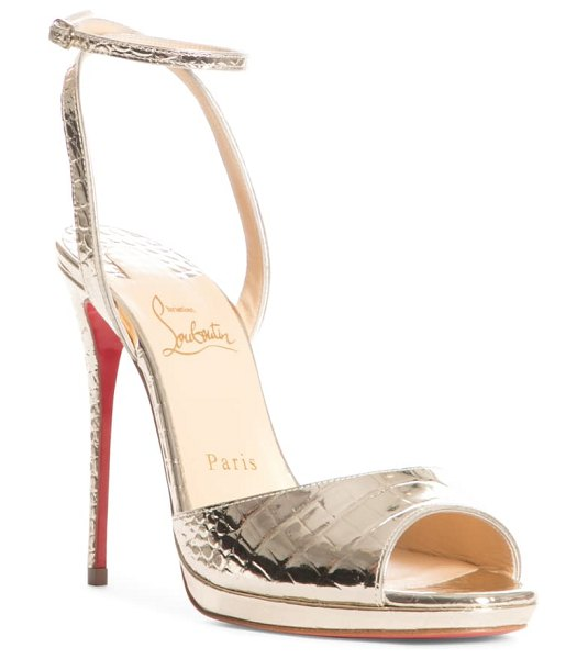 Christian Louboutin loubiloo metallic croc embossed ankle strap sandal in metallic