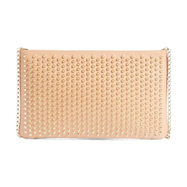 CHRISTIAN LOUBOUTIN 'loubiposh' spiked calfskin shoulder bag in nude/gold - A beautiful calfskin-leather shoulder bag features matte...