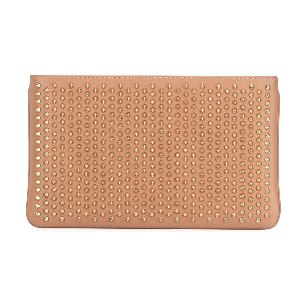 Christian Louboutin Loubiposh Spiked Clutch Bag in nude/gold - Christian Louboutin calf leather clutch with tonal spike...