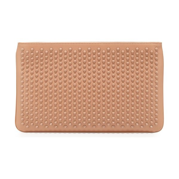 Christian Louboutin Loubiposh spiked clutch bag in nude - Christian Louboutin calf leather clutch with tonal spike...