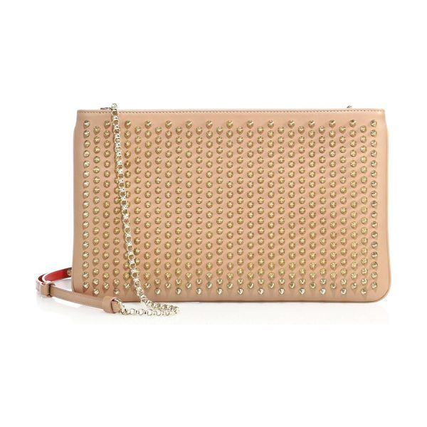 Christian Louboutin loubiposh studded leather clutch in nudegold - Streamlined clutch cast with shimmering stud detail....