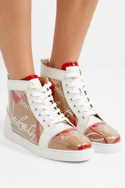 Christian Louboutin louis leather and logo-print pvc sneakers in tan - Christian Louboutin's newest 'Loubi in Progress'...