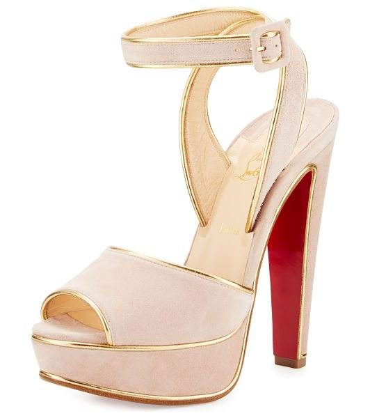 "CHRISTIAN LOUBOUTIN Louloudance Suede Platform Red Sole Sandal in pink/gold - Christian Louboutin suede sandal. 5.5"" covered heel; 1""..."