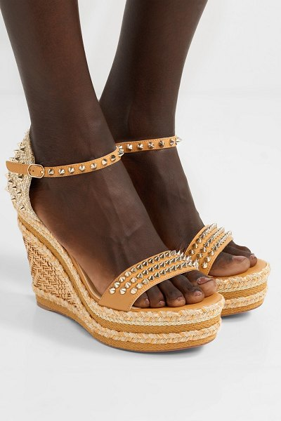 Christian Louboutin madmonica 120 spiked raffia and leather espadrille wedge sandals in sand