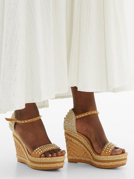 Christian Louboutin madmonica 120 studded wedge sandals in nude gold