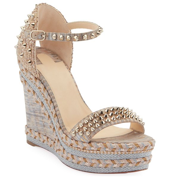 Christian Louboutin Madmonica 120mm Spiked Liege Cork Wedge Red Sole Sandals in neutral - Christian Louboutin espadrille sandal in...