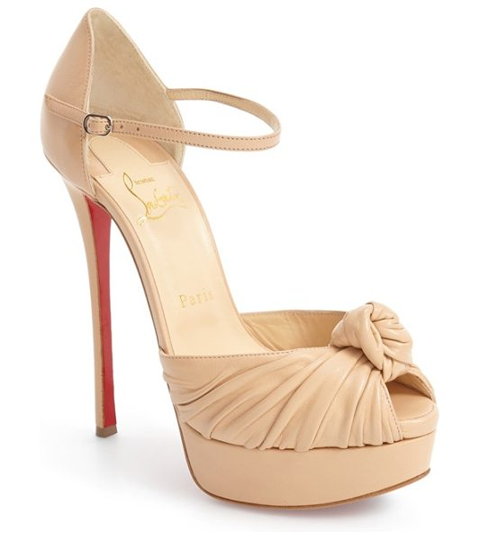 Christian Louboutin marchavekel knot sandal in nude leather - An oversized leather knot above the peep toe underscores...