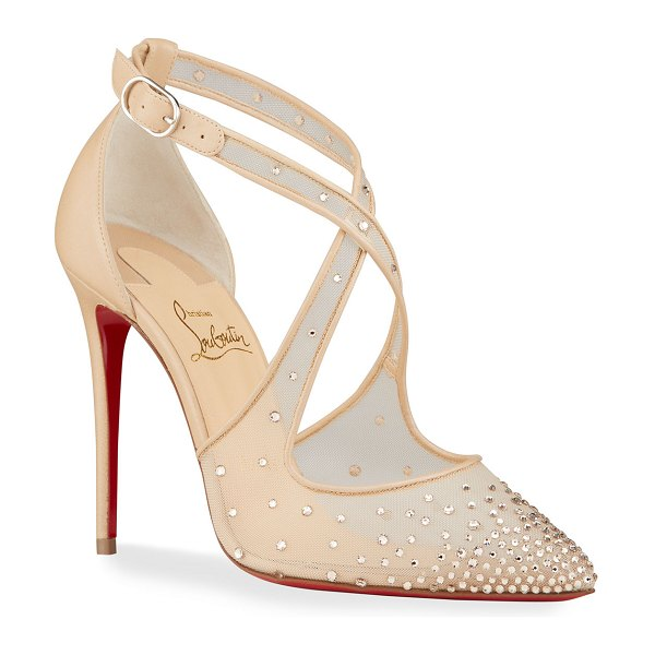 Christian Louboutin Maria Strass Crisscross Red Sole Pumps in beige