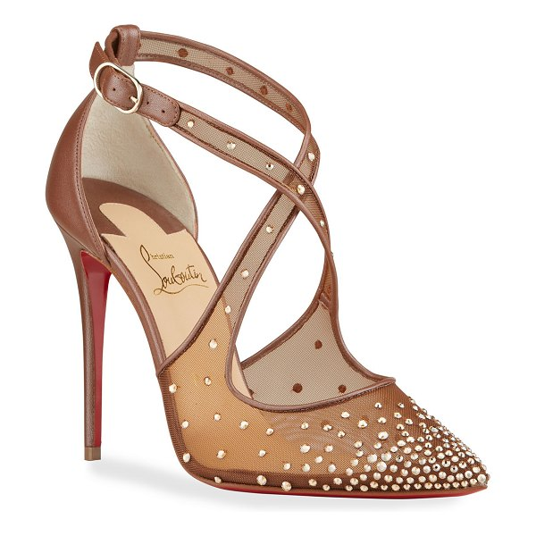 Christian Louboutin Maria Strass Crisscross Red Sole Pumps in taupe