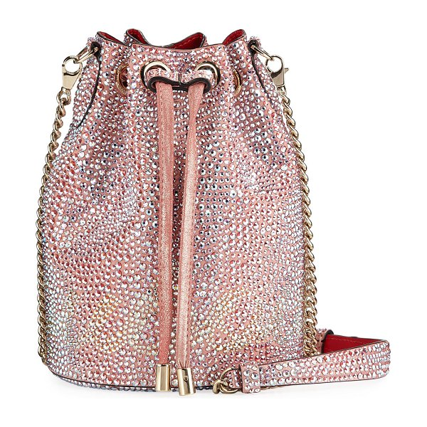 Christian Louboutin Marie Jane Crystal-Studded Suede Bucket Bag in pink