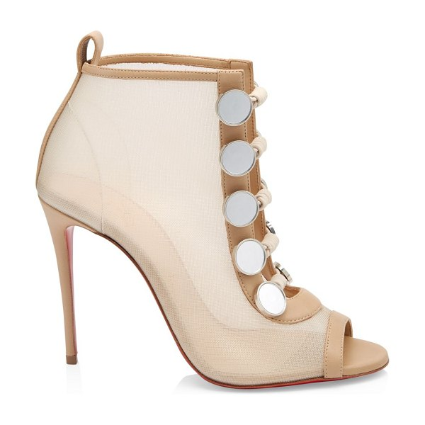Christian Louboutin marikat 100 mesh peep toe booties in nude - Double rows of buttons lend these mesh peep toe booties...