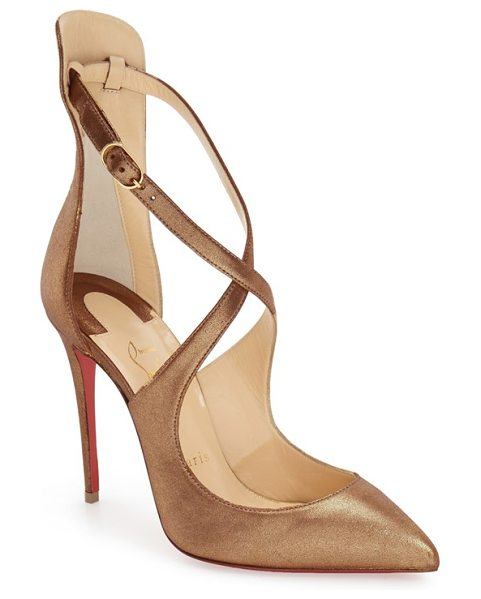 Christian Louboutin marlena rock pointy toe pump in metallic gold leather - A soaring stiletto heel and slim, crisscrossed straps...