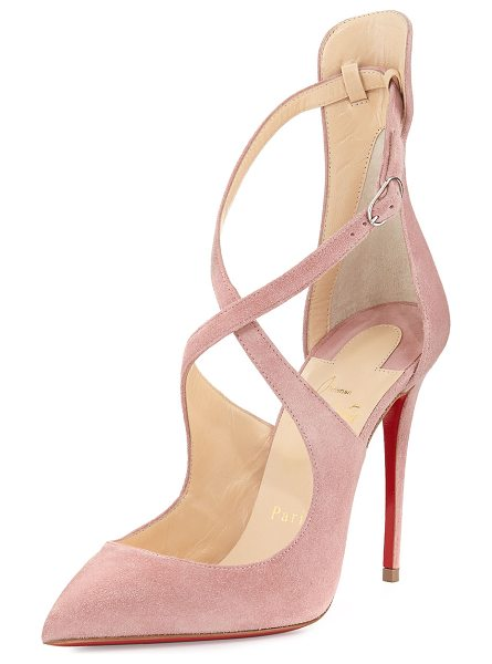 "Christian Louboutin Marlenarock Crisscross Suede Red Sole Pump in nude - Christian Louboutin calf suede pump. 4"" covered heel...."